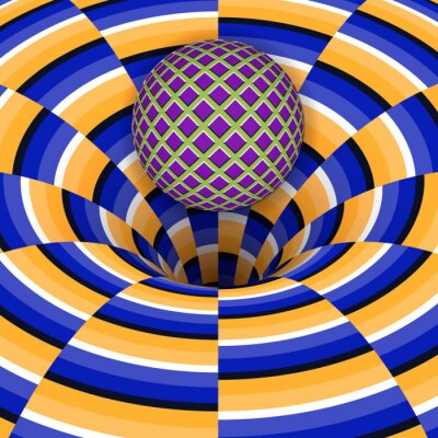 Obraz Optyczne złudzenie piłki spada do dziury. Streszczenie tle.