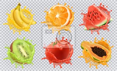 Obraz Orange, owoce kiwi, banan, pomidor, arbuz, sok z papai. Świeże owoce i plamy, 3d zestaw ikon wektorowych