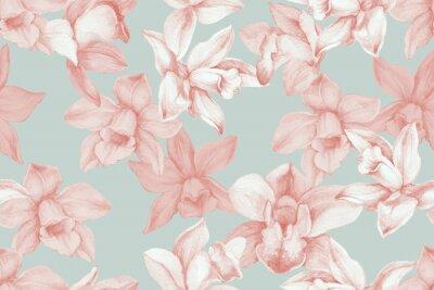 Obraz Orchids seamless pattern. Kitchen panel concept