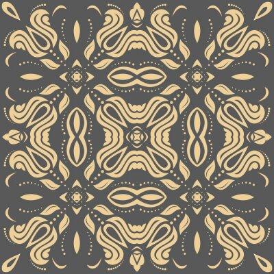 Obraz Oriental złoty wzór z arabeski i elementami kwiatowymi. Tradycyjny klasyczny ornament
