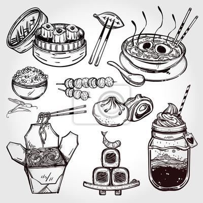Obraz Orientalne żywności wektor ustaw.