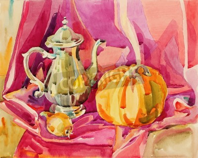 Obraz original handmade watercolor painting still life with silver tea pot and pumpkin, art composition, vector illustration