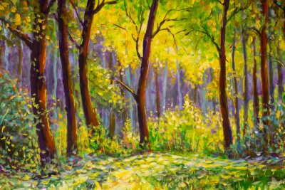 Obraz Original oil painting, contemporary style, made on stretched canvas Sunny Park forest wood - green trees in the sunlight