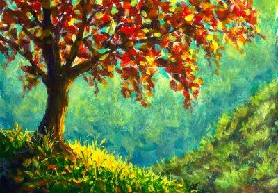 Obraz Original oil painting on canvas. Autumn tree on sunny mountain side landscape. Modern art.
