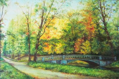Obraz Original oil painting The bridge in the forest