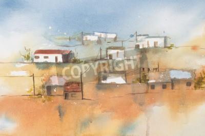 Obraz Oryginalna akwarela, afrykańska wieś.