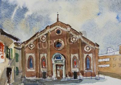 Obraz Oryginalna akwarela pocztówki fasada Santa Maria delle Grazie w Mediolanie, Włochy
