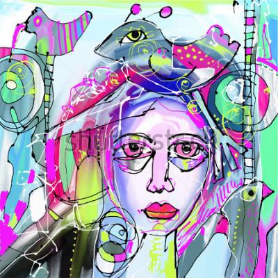 Obraz oryginalny abstrakcyjny obraz twarzy, kolorowy, nowoczesny, nowoczesny, idealny do aranżacji wnętrz, strony, sieci i innych ilustracji wektorowych