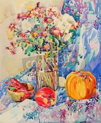 Obraz Oryginalny akwarela martwa natura z kwiatami, dynia, jabłko, draperii i papryki malarstwa impresjonistycznego, ilustracji wektorowych,
