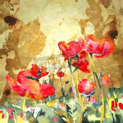 Obraz Oryginalny akwarela z kwiatu maku złotym tle
