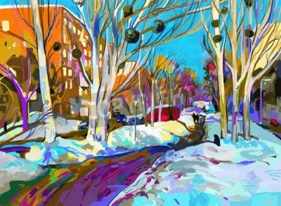 Obraz Oryginalny cyfrowy obraz zimowy pejzaż. Nowoczesne impresjonizm