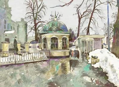 Obraz Oryginalny cyfrowy obraz zimowy pejzaż Nowoczesnej impresjonizmu