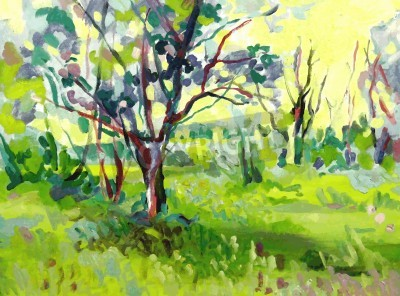 Obraz Oryginalny obraz olejny pejzaż z drzewem