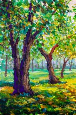 Obraz Oryginalny obraz olejny, współczesny styl. Duzi duzi drzewa dęby w lasowym parku - pogodny zielony wiosna krajobraz