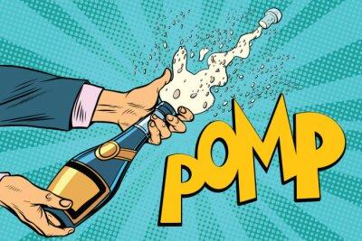 Obraz Otwarcie butelek szampana pop art