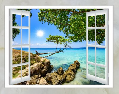 Obraz otwarte okno z widokiem na morze dobrej pogodzie latem
