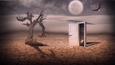 Obraz Otwórz drzwi pokazać jakoś w przestrzeni sceny półprzezroczysty stran