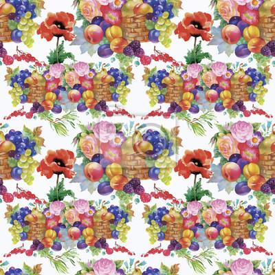 Owoce i kwiaty, akwarela szwu.