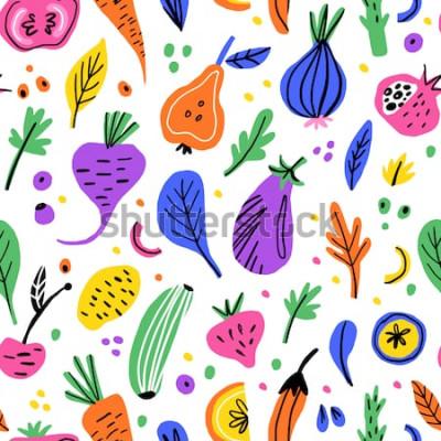 Obraz Owoce i warzywa płaskie ręcznie rysowane wzór. Tekstura kreskówka zdrowe odżywianie. Skandynawskie ilustracje żywności ekologicznej. Clipartów kolor szkic diety. Tekstylia kuchenne, tło wektor wypełni