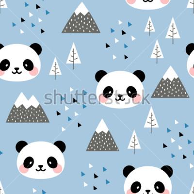 Obraz Panda bezszwowe tło wzór, skandynawska szczęśliwa śliczna panda w lesie między górskim drzewem i chmurą, Cartoon Panda Bears ilustracji wektorowych dla dzieci tło nordyckie z trójkątnymi kropkami