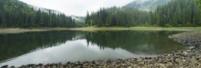 panorama drewniane jezioro w mglisty poranek ze spokojną wodą