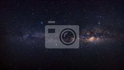 Obraz Panorama Droga Mleczna galaktyka z gwiazdami i pyłem kosmicznym we wszechświecie, fotografia długi czas ekspozycji z ziarnem.