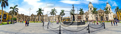 Obraz Panorama of the Plaza de Armas - Lima in Peru