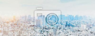 Obraz panoramic modern city skyline mix sketch effect