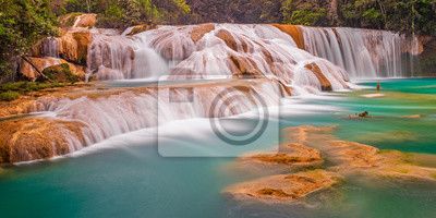 Obraz Panoramic photograph and long exposure of the Agua Azul cascades and waterfalls in the tropical rainforest of Chiapas state near the city of Palenque, Mexico.