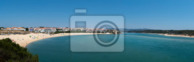 Panoramic view of the village of Vila Nova de Mil Fontes with the beach and the Mira River mouth in Alentejo, Portugal