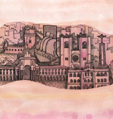 Obraz panoramiczny widok z Lizbony miasta wyciągnąć rękę na tapecie wyizolowanych na kolor tła