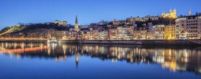 Obraz Panoramiczny widok z Lyonu z Saone rzeki w nocy