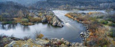 Obraz panoramiczny widok z rzeki w jesieni