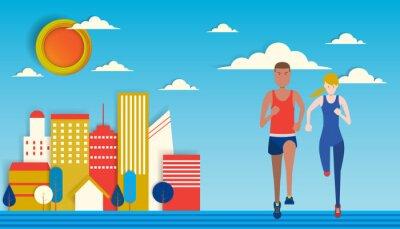 Obraz Para Running in the city