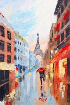 para spaceru na ulicach Paryża na tle t