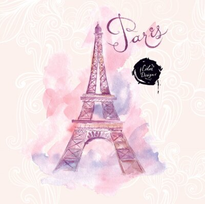 Obraz Paris. Vector Ilustracja akwarela