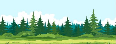 Obraz Path along spruce forest with big green trees game background tillable horizontally, tourist route near the dense spruce forest and bushes in summer sunny day nature illustration background