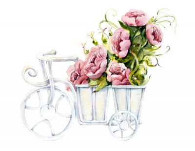 Pattern from pink rose on the bycicle. Wedding drawings. Watercolor painting. Flower backdrop. Greeting cards.