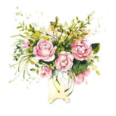 Pattern from pink rose. Wedding drawings. Watercolor painting. Flower backdrop. Greeting cards.
