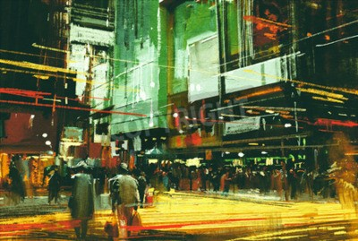 Obraz pejzaż malarstwo, tłumy ludzi na ruchliwym skrzyżowaniu ulic