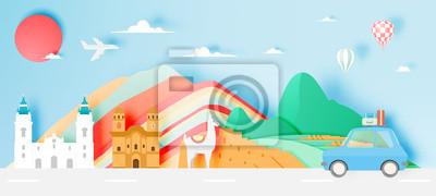 Obraz Peru travel with Machu Picchu background