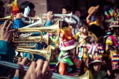 Obraz Peruwiańska tancerzy na paradzie w Cusco.