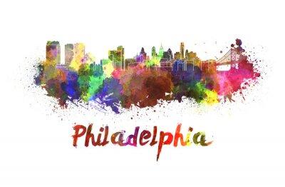 Obraz Philadelphia skyline w akwareli