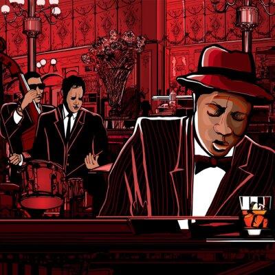 Obraz piano-Jazz band w winiarni