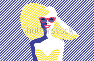 Obraz Piękna młoda kobieta z okularami przeciwsłonecznymi i kapeluszem, retro styl. Pop Art. Letnie wakacje. Wektorowa eps10 ilustracja