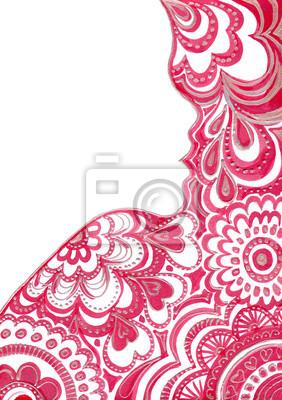 Piękna sylwetka kobiety z kwiatowym wzorem