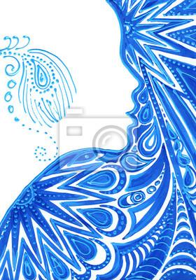 Obraz Piękna sylwetka kobiety z kwiatowym wzorem