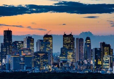 Obraz Piękna sylwetka Tokio Skyline o zmierzchu