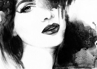 Obraz Piękna twarz kobiety. Streszczenie ilustracji mody akwarela