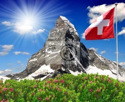 Piękne górskich Matterhorn flagą Szwajcarii - Alpy Szwajcarskie